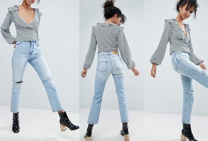 ◎美國代買◎ASOS代買雙膝刷破淺藍刷色復古甜心高腰刷破九分牛仔褲~歐美街風~大尺碼