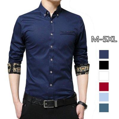 大尺碼襯衫 秋季新品男士襯衫長袖潮流休閒襯衣韓版修身襯衫M-5XL