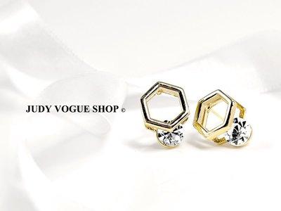 韓國 耳環 菱形鏡面個性耳環 鋯石耳環 氣質淡雅金 JUDY VOGUE SHOP【JES-0012】