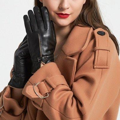觸控手套 真皮手套-搭扣綿羊皮加絨修手女手套73wm55[獨家進口][米蘭精品]