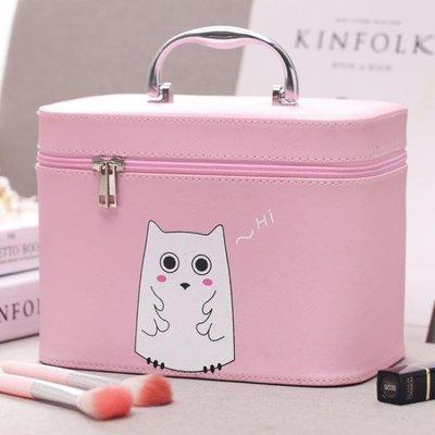 正韓大容量手提化妝包簡約便攜可愛化妝箱專業小