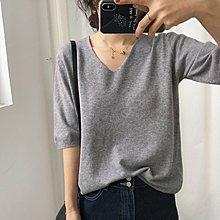 Maisobo 韓國KOREA 夏季舒適簡單 V領 寬鬆 短袖針織衫 R-202  預購