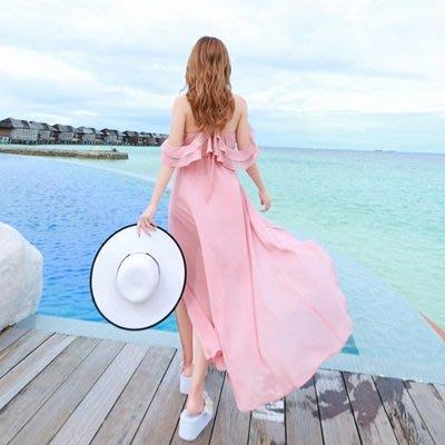 波希米亞 長 裙-海邊渡假時尚甜美荷葉邊連衣裙73sg63[獨家進口][米蘭精品]