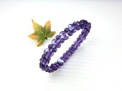 □§Disk的天然水晶§□【開智慧、招好人緣】優質天然巴西紫水晶鑽切面手排珠Y-40