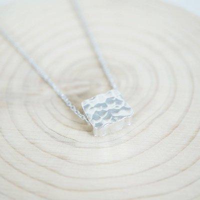 [ Cami Handicraft ] 幾何造型短鏈 / 時尚方形 - 純銀款 簡約趣味造型 適合OL日常穿搭