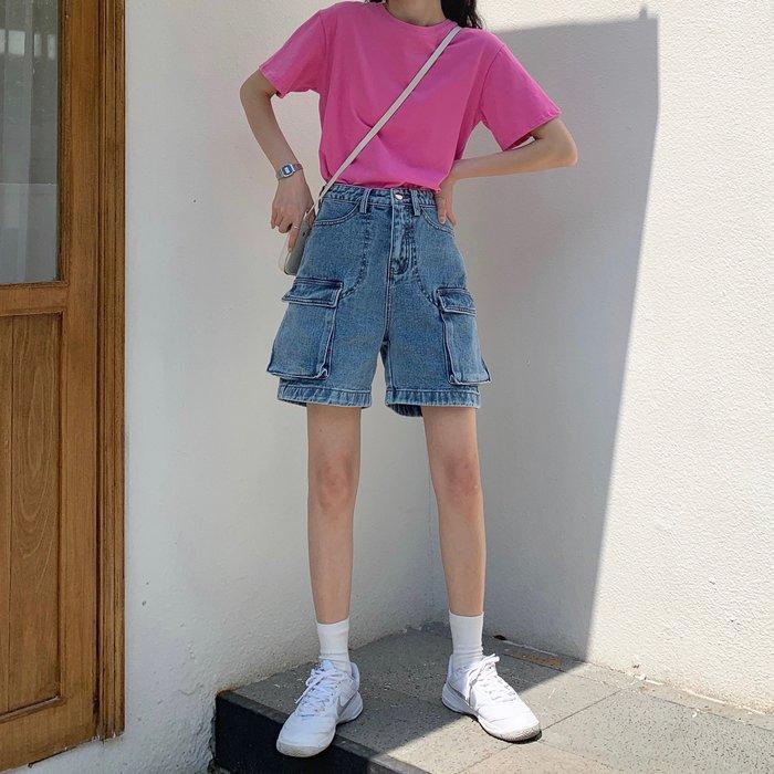 牛仔褲 韓版大口袋工裝褲百搭高腰水洗牛仔中褲女潮