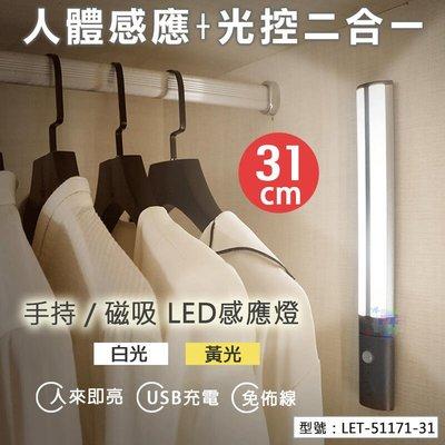 USB充電式 手持/磁吸 LED感應燈(33燈) 31cm 書桌 床鋪 壁燈 室內燈  LET-51171-31
