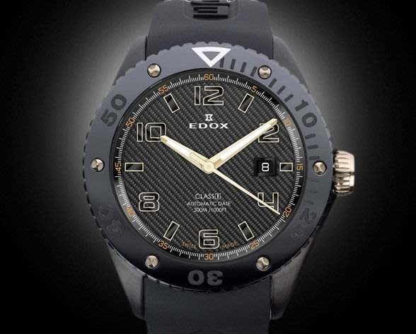 全新瑞士EDOX依度Class-1自動日曆腕錶自動上鍊碳纖維陶瓷機械腕錶機械表300M高防水