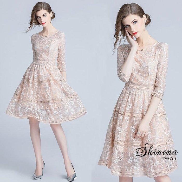 ❤My Ladies 千奈公主❤高品質氣質鉤花蕾絲連身裙  秋裝女人味打底中長款裙子