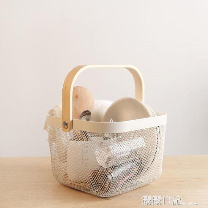 廚房收納籃浴室洗漱籃鐵藝籃子手提置物籃水果蔬菜儲物筐