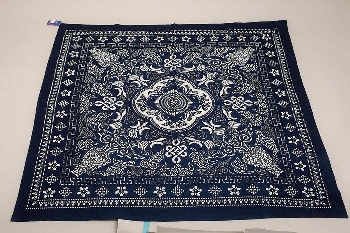 !中國藍Anewei藍染平安富貴大方巾-150*150CM-雙面可用 桌巾.沙發巾.掛飾.門簾