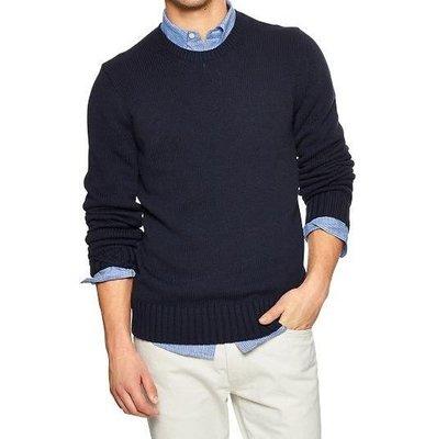 [天普小棧】GAP Tape Yarn Crewneck Sweater男生素面毛衣 深藍 L號 現貨抵台