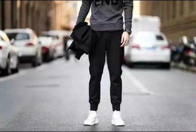 【T3】 夜跑系列 羅馬布材質休閒縮口褲 束口褲 緊身褲 休閒長褲 飛鼠褲 棉褲 外套 牛仔褲 生日禮物【M02】