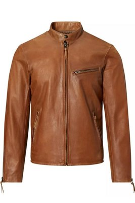 [ Satisfaction ] Polo Ralph Lauren RL經典Cafe Racer棕褐色騎士立領羊皮皮衣
