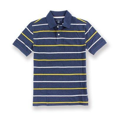 美國百分百【全新真品】Tommy Hilfiger Polo衫 TH 短袖 網眼 上衣 黃白條紋 藏藍 S號 H950