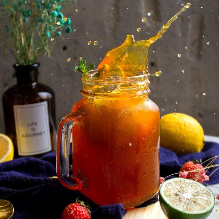 聚吉小屋 #玻璃帶蓋公雞杯咖啡杯茶杯復古罐頭杯帶把果汁檸檬杯梅森瓶