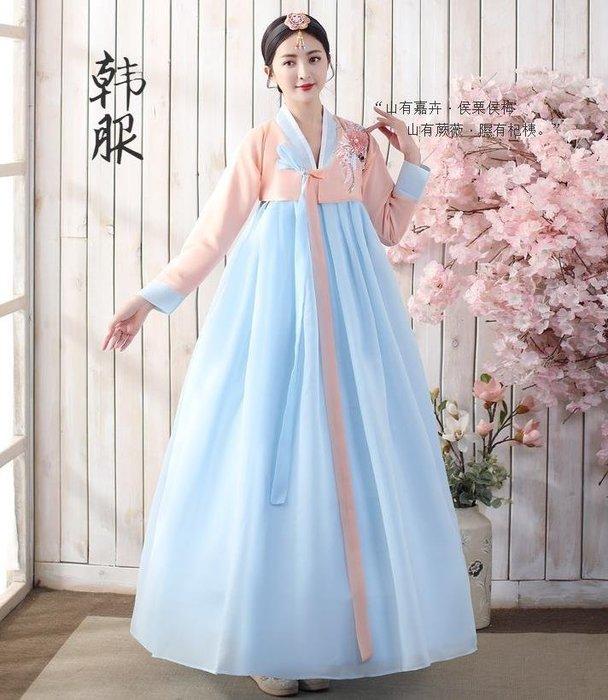 紫滕戀推出新款韓國古裝朝鮮族民族服裝傳統韓服女改良大長今舞臺舞蹈演出服-粉衣藍裙