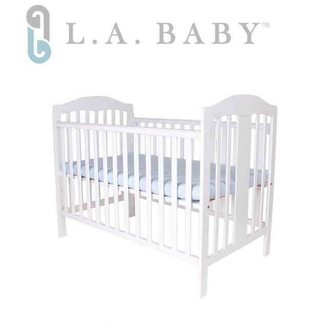 娃娃屋~~~【美國 L.A. Baby】里維爾嬰兒大床-白色(附贈床側板及椰棕床墊)CP值超高,值得使用!