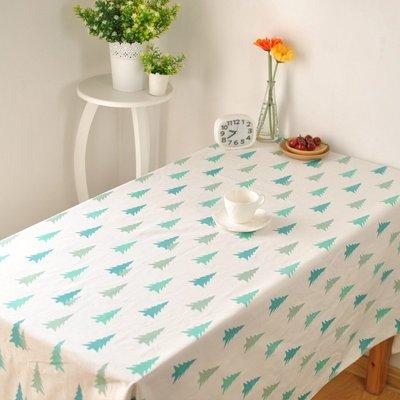 HOME 北歐風小清新松樹 聖誕樹 印花加厚桌巾 桌布 餐桌巾 背景布 拍攝道具