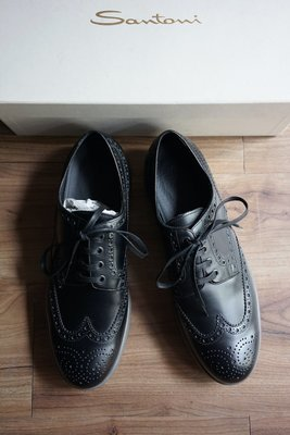 Santoni 義大利頂級純手工製 黑 雕花皮鞋 UK9 / US10 / EU43 Brogue