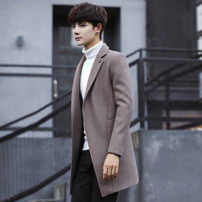 【MOZ潮流男装】秋冬季青少年男士韓版修身中長款百搭風衣外套潮男款呢子大衣