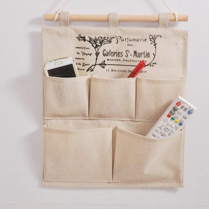 【愛麗絲生活家飾雜貨】zakka日式棉麻本色字母掛式收納袋/置物袋/雜物收納