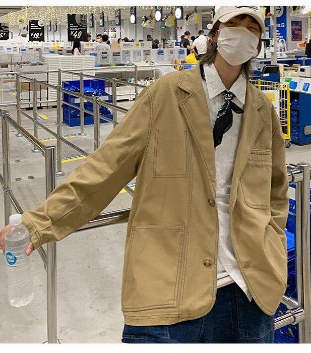 FINDSENSE X  男士 復古潮流帥氣百搭休閑西裝外套潮情侶夾克外套