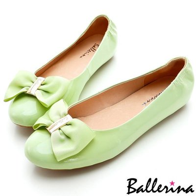 Ballerina-羊漆皮蝴蝶結釦鬆緊豆豆鞋-綠【BD700165GZ】
