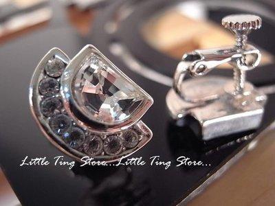 Little Ting Store:沒耳洞型男潮流 施華洛世奇大D白K底水鑽耳環貼耳飾螺旋夾式耳環