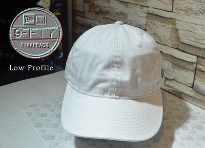 New Era Branded White Strapback Lowprofile 9Fifty NE素全白可調軟帽