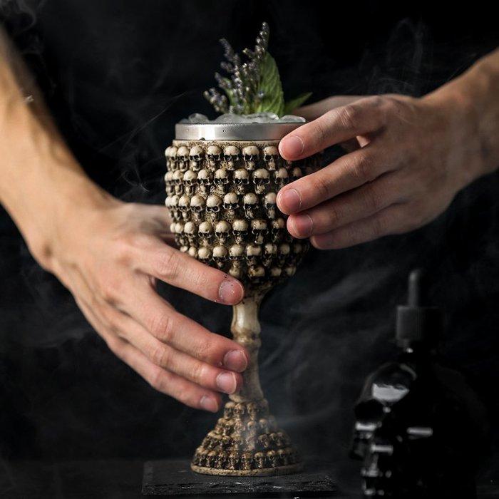 出口仿古個性骷髏酒杯鬼頭高腳杯不銹鋼威士忌杯紅酒杯創意一口杯歐式酒杯
