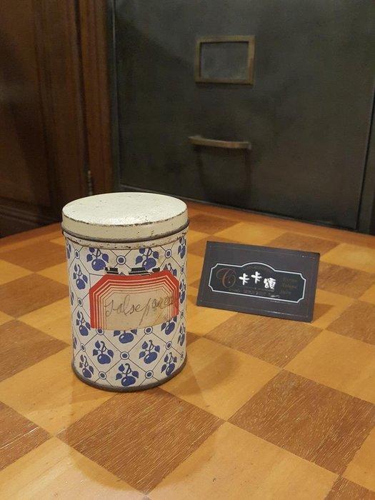 【卡卡頌 歐洲跳蚤市場/歐洲古董】歐洲老件_ 淡藍果實圖紋 圓筒型 老鐵盒 小物收納盒 m0507 提供租借✬