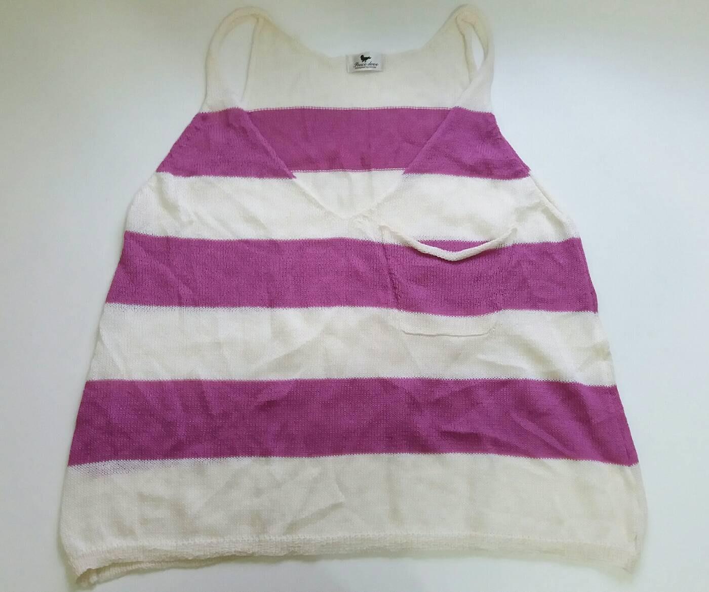 Peace Dove米白色莓紫色橫條紋背心針織衫單口袋設計長版混羊毛衫4 1元起標GUESS iCB ef-de 參考