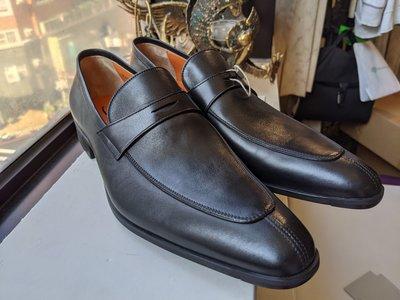 SANTONI全新真品義大利製黑色真皮皮鞋/樂福鞋 --- 2.2折出清(不議價商品)
