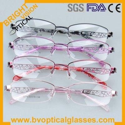 新款女式时尚金属眼镜,半框眼镜架,眼镜框镜面宽度: 52mm鼻梁宽度: 18mm镜腿长度: 138mm