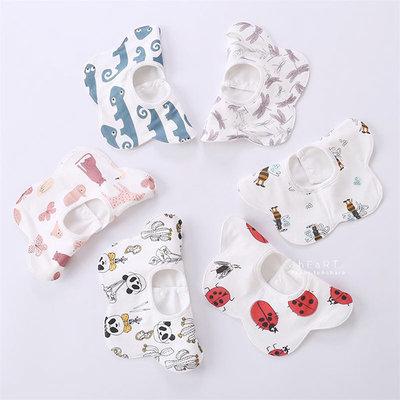 【媽媽倉庫】動物印花旋轉花朵紗布口水巾 圍兜兜 擦嘴巾
