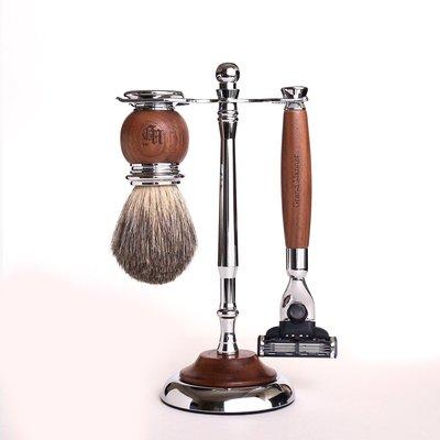 英國 Grand Manner 尊爵系列 修容刮鬍套組(胡桃木 / 鋒速3 Mach3)送禮 禮物