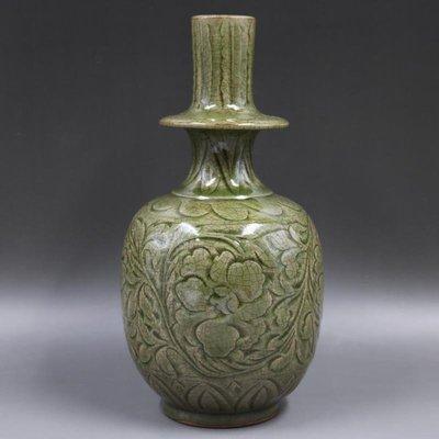 ㊣姥姥的私藏㊣宋耀州窯青瓷刻花 淨水瓶