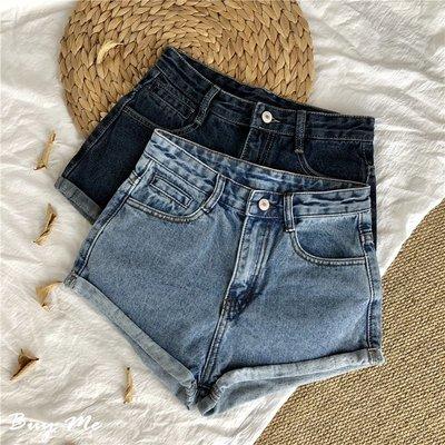 Buy Me 夏季新款休閒顯瘦高腰捲邊A字牛仔熱褲  短褲 (S-XL) 三色 偏小款 淺XL現貨