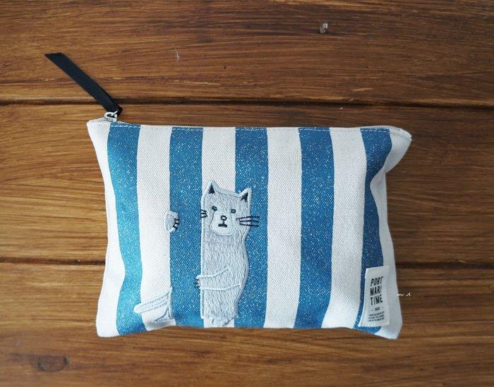 mh日本雜貨 灰貓 天空 藍白 條紋 拉鍊式 置物包 化妝袋