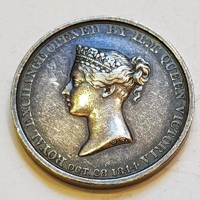 英國銀章 1844 UK Victoria Royal Exchange Opened Medal