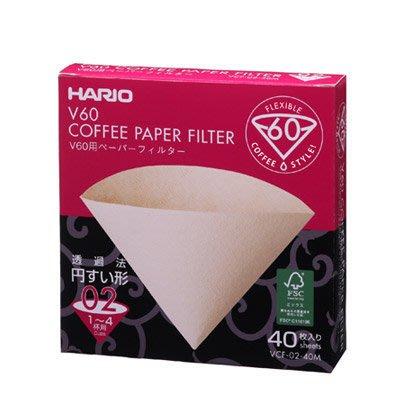 『里德咖啡烘焙王 』Hario VCF-02-40M 圓錐無漂白濾紙紙盒40入