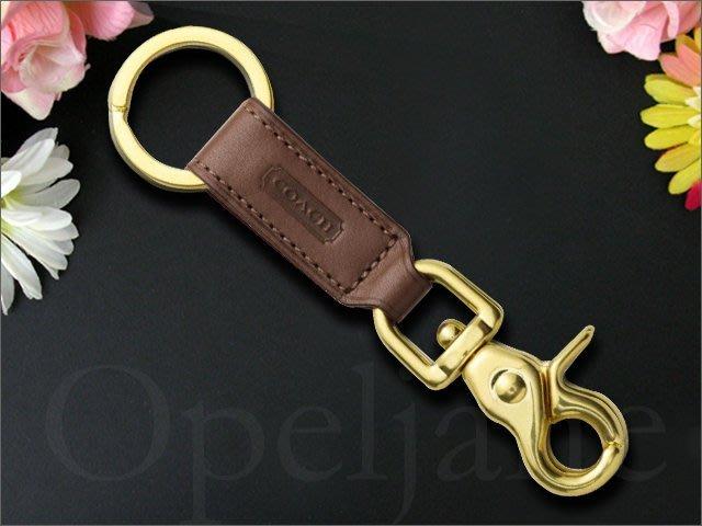 Coach KEY RING 咖啡色 真皮 可勾掛式 鑰匙圈 鑰匙環 鑰匙掛環吊環+禮盒 愛Coach包包