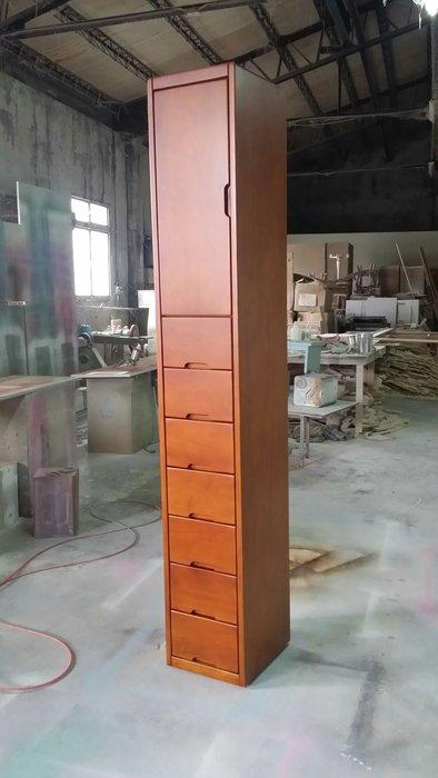 美生活館 北歐 鄉村風格 全紐西蘭松木原木烤柚木色 單門七抽櫃 夾縫櫃 收納櫃 置物櫃 玄關櫃  也可修改尺寸與顏色
