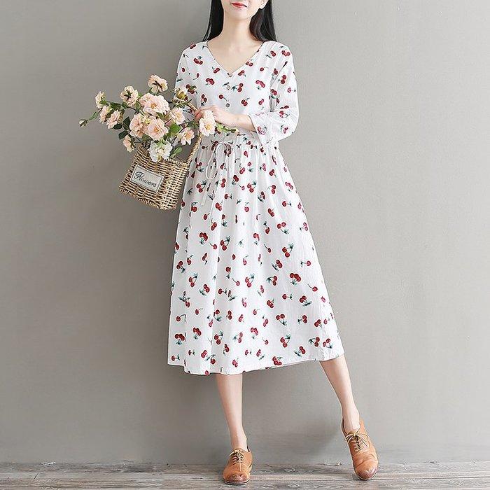 復古 連身裙 甜美 印花 長袖洋裝 實拍秋季文藝復古櫻桃圖案V領寬松連衣裙長裙