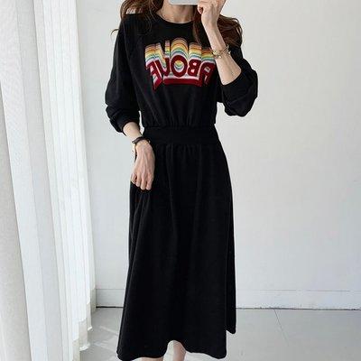Bellee  正韓  彩虹字母腰身口袋長袖棉質洋裝    (3色) 【DL10221】