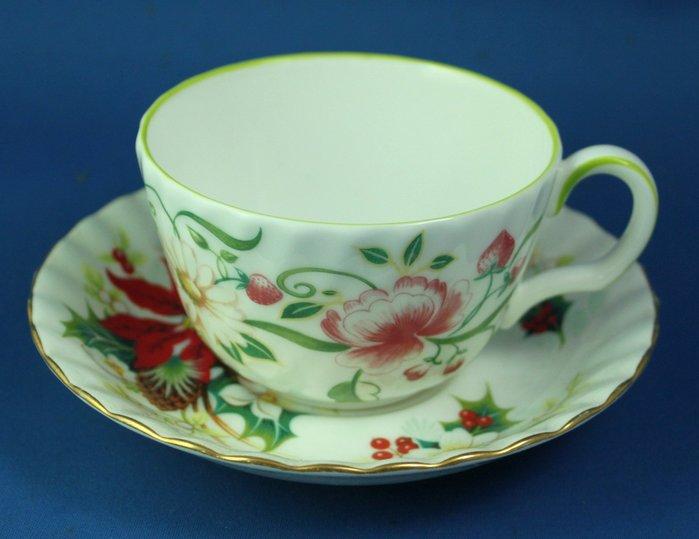 [美]英國百年名瓷MINTON骨瓷茶杯/咖啡杯二用杯盤組.SECRET GARDEN+POINSETTIA