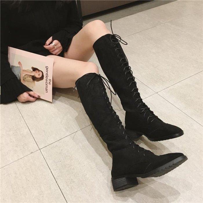 秋冬馬丁靴女英倫風過膝靴女長筒靴高筒靴騎士機車靴子女
