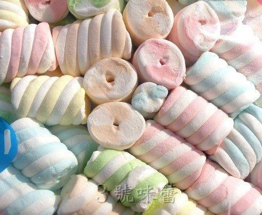 3號味蕾~蜜意坊型棉花糖1000g(TO-35特大彩花卷4cm)180元........DIY喜糖.