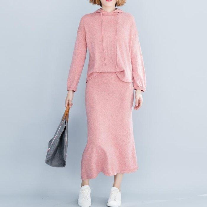 連帽衛衣裙時尚套裝 秋新款胖MM純色長袖寬鬆洋氣休閒洋氣兩件套潮